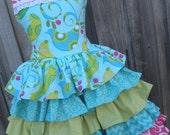 ON SALE Ready to Ship Custom Pretty Bird 5 Ruffle Easter Dress Girl Size  7 8
