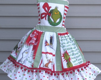 Ready to Ship Custom Boutique Grinch Christmas Pom Pom  Holiday Whoville Girl Dress Size 5 / 6