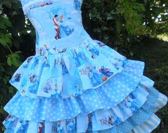 Made to Order Custom Boutique Cinderella Disney Blue Ruffle  Dress Girl Sizes 2 3 4 5 6 7 or 8