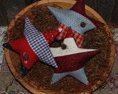 Primitive Quilt Top Star Stripes Tucks Americana Bowl Fillers Patriotic Red White Blue Ornies