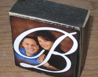 Wooden Photo Blocks with YOUR pictures- Last Name WEDDING / ENGAGEMENT Gift- per block price
