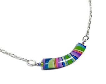 Choker Rainbow Necklace- polymer clay jewelry- Resin Pendant- Gifts for Her- Statement Necklace- Minimalist Bar Necklace