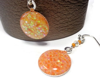 Tangerine Dichroic Earrings- polymer clay jewelry- Resin Earrings-Statement Earrings- Boho Earrings- Dangle Earrings