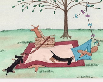 Dachshund (doxie) family picnic / Lynch signed folk art print