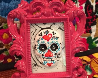 Hand Painted Sugar Skull Mixed Media  Art with Hot Pink Frame