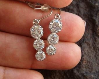 Earrings, CZ Earrings, CZ Graduated Earrings, Silver Earrings, Bridal Earrings, Pierced Dangle Earrings