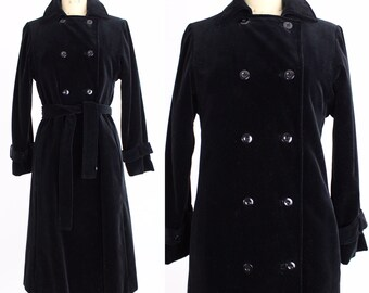 Vintage 1970s I.Magnin Coat | Black Velvet Trench Coat |