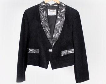 Cropped Biker Jacket | Vintage 1980s Western Leather Jacket | Black Suede Leather | M