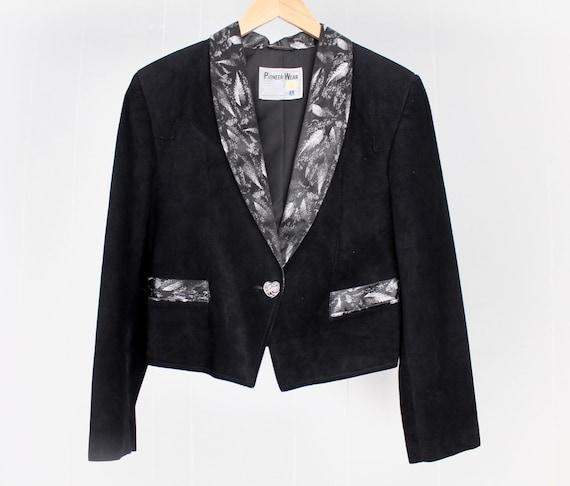 SUMMER SALE    Cropped Biker Jacket   Vintage Western Leather Jacket   Black Suede Leather   M