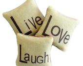 KIT - Dollhouse Pillows, Cushions - Live Love Laugh - 1/12th Scale