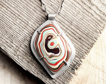 Fordite necklace, Detroit Agate necklace, fordite jewelry, girlfriend gift, wife gift, sterling silver statement necklace, metalsmith