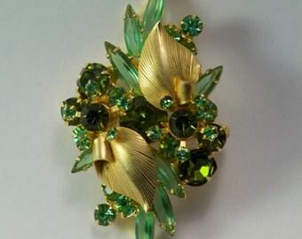Vintage Peridot Broach and Earrings