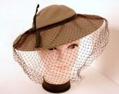 Vintage Wide Brimmed Brown Felt Hat with Birdcage Veil