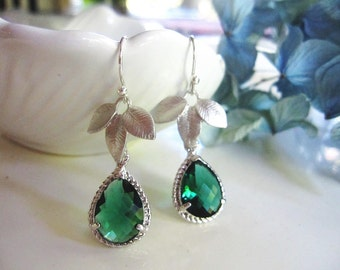 Emerald Green and Silver Earrings, Matte Leaf Earrings, Teardrop Glass, Bridesmaid Earrings, Gift for her