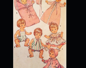 "Vintage 60s 18"" Doll Play Outfits American Girl Clothing Sewing Pattern Bonnet Playsuit, Bunting Preemie Sewing Pattern 5730"