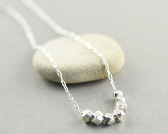 Sterling Nugget Necklace, Minimalistic Silver Necklace, Simple Necklace