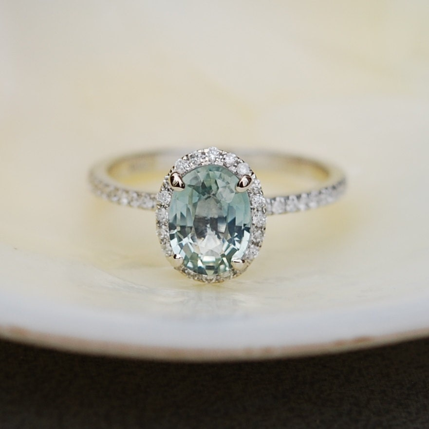 1.57ct Mint blue green oval sapphire diamond ring by ...