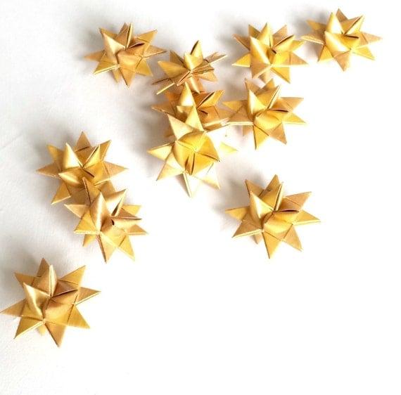Moravian golden stars x3 Scandinavian chic Christmas origami s