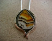 Spectacular Montana Moss Agate Pendant and Forged Sterling Silver