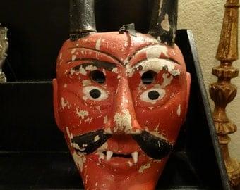 Vintage Shabby Creepy Devil Diablo Wooden Mask