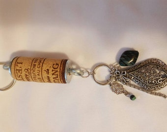 Filigree and striped stone With e Cork Keychain