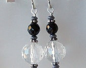Genuine Black Onyx, Crystal Quartz Dangle Earrings, Sterling Silver, Cavalier Creations