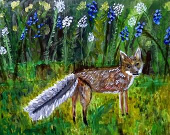 Fox visitor.  Original oil painting by Vivienne Strauss.