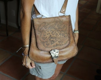 VINTAGE Brown leather purse, handmade, bohemian, hand tooled purse, silver pirate/egyptian buckle