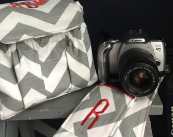 Compact Small Digital Padded Chevron Camera Bag and Camera Strap Cover with Lens Pocket Monogrammed Personalized Grey Chevron