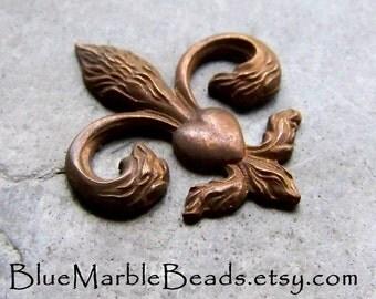 Fleur De Lis, True Vintage, Brass Stamp, Brass Finding, Vintage Finding, Centerpiece, Rosary, Patina, Heart, Rare, French Stamp, 1 Piece