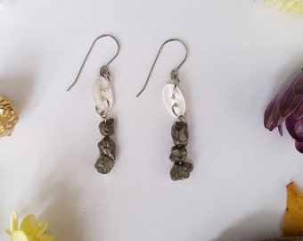 Pyrite Nuggets and Teeny Tiny Button Dangles