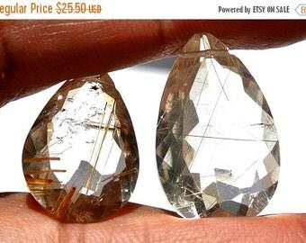 55% OFF SALE 2Pcs Finest Quality Golden Rutilated Quartz Pear Shape Cut Stone Briolettes 16 Cts 18x12-22x13mm