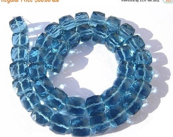 55% OFF SALE Superb Quality AAA London Blue Quartz Faceted Cubes Briolette Length 7 Inches Size 7 - 7.5mm approx London Blue Cube Beads