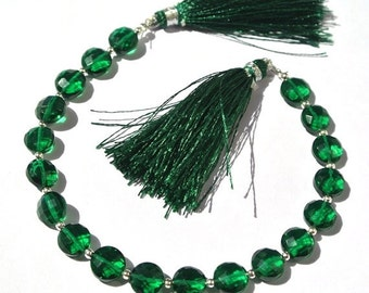 55% OFF SALE 8 Inches Super Finest AAA Green Quartz Faceted Coin Briolettes Size 8x8mm Approx