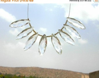 55% OFF SALE 30x10mm - Genuine AAA Rock Crystal Quartz Faceted Elongated Marquise Briolettes 4 matched Pairs 8 Pieces