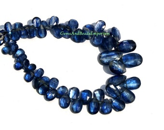 1/2 Strand - Rare Finest Quality Natural Deep Inky Blue Kyanite Faceted Pear Briolettes Size 5x3 - 12x8mm - Gemstone Briolette 02