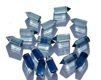 50% Off Valentine day 10 Pieces AAA London Blue Quartz Faceted Pencil Point Size 20x8mm Approx,  London Blue Pencil, Point Pencil