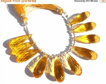50% Off Valentine day 1 Pair AAA Citrine Quartz Faceted Elongated Teardrop Briolettes Size 25x8mm Approx