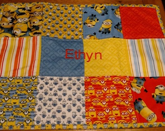 Personalized minion patchwork placemat, quilted, kid's placemat, child's placemat