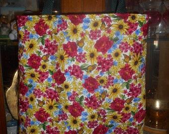 Flowers & Butterflies Tote Bag Spring Summer Handmade Purse Limited
