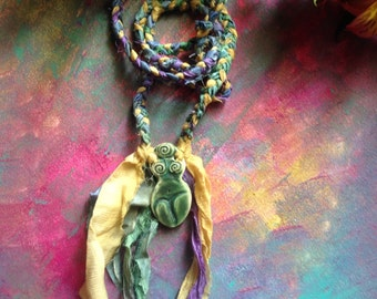 Goddess of earth, moss and mist - Soft Goddess Necklace