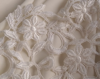 Off White Lace Fabric by the 1/2 Yard, Off White Guipure Lace with Double Scallop Edge