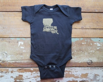 Black and Gold Home Sweet Home Louisiana Baby Creeper One Piece Body Suit