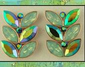 Beads Leaf/Leaves Double Aqua AB Swarovski Crystal Elements ~ 2 Hole Sliders QTY 6     (SKU 265157227)