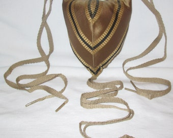 Renaissance Padded Gold and Black Striped Codpiece with Ties