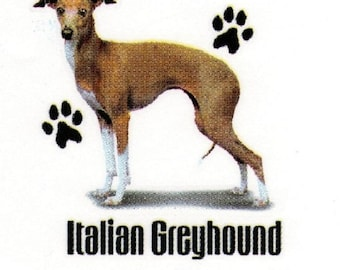 ITALIAN GREYHOUND Fabric with Paws on ONE Fat Quarter Panel To Sew