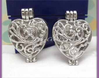 1 Silver Filigree Heart Locket PS201