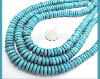 65 Turquoise Howlite Rondelle Beads - Turquoise Howlite Heishi Gemstone Beads 9mm