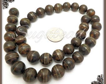 18 Banded Tibetan Agate Gemstone Beads - Earthy Brown Agate Prayer Beads 10mm