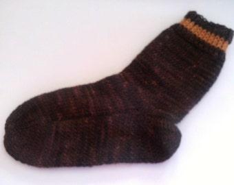 Hand Knit Hand Dyed Wool Socks Womens Large/Mens Medium 8-10